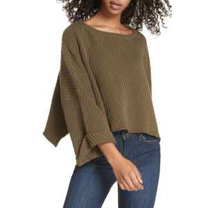 FREE PEOPLE I Can't Wait Ribbed Crop Sweater S